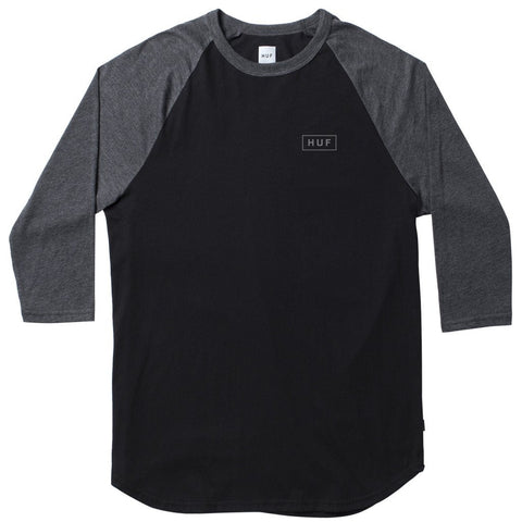 HUF - Reflective Bar Logo Men's Raglan, Black/Charcoal Heather