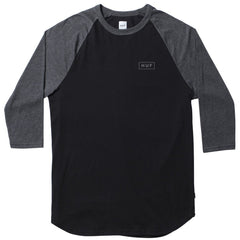 HUF - Reflective Bar Logo Men's Raglan, Black/Charcoal Heather - The Giant Peach - 1