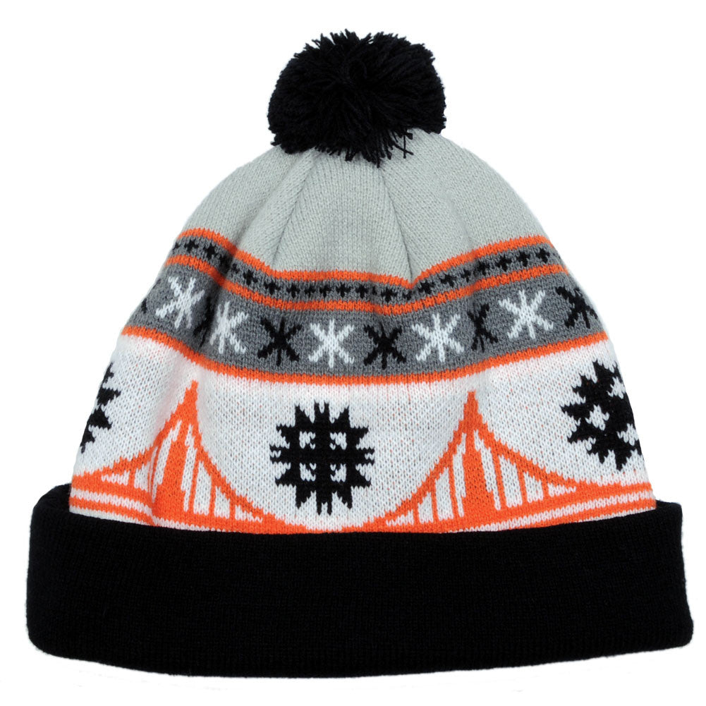 TRUE - Festive Pom Beanie Hat, Black/Orange - The Giant Peach