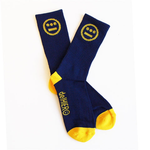delHIERO - Hiero Socks, Navy/Gold - The Giant Peach