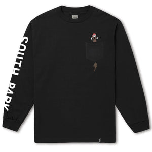 HUF x South Park Mr. Hankey Men's L/S Pocket Tee, Black - The Giant Peach