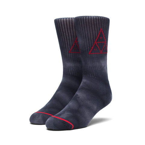 HUF Spot Dye Triple Triangle Crew Socks, Black