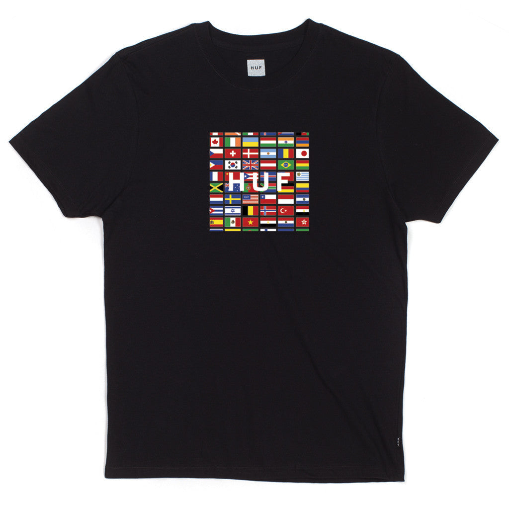 HUF - Flag Box Logo Men's Tee, Black - The Giant Peach