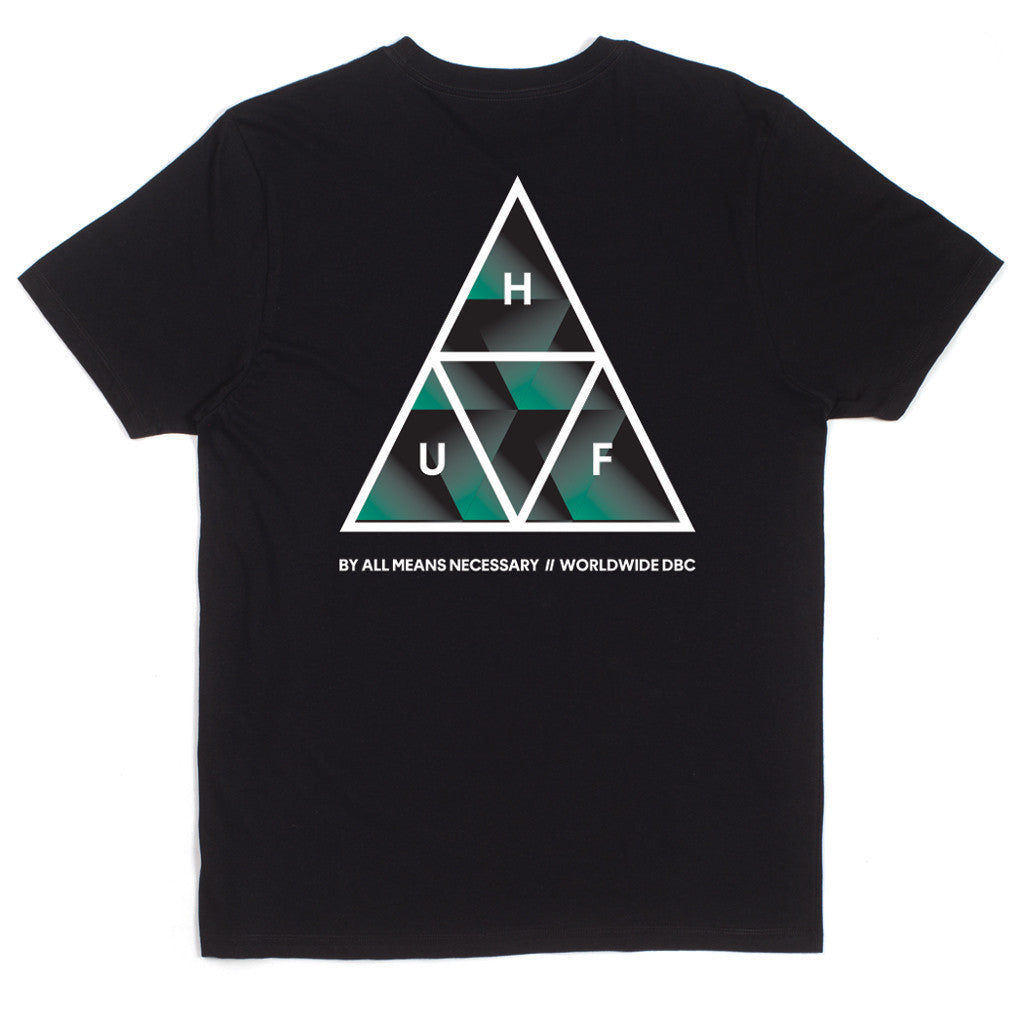 HUF - Premiere Triple Triangle Men's Tee, Black - The Giant Peach - 1