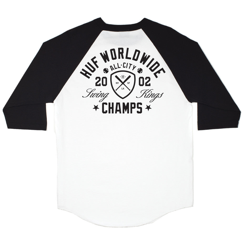 HUF - Swing Kings Men's Raglan Tee, Black - The Giant Peach - 1