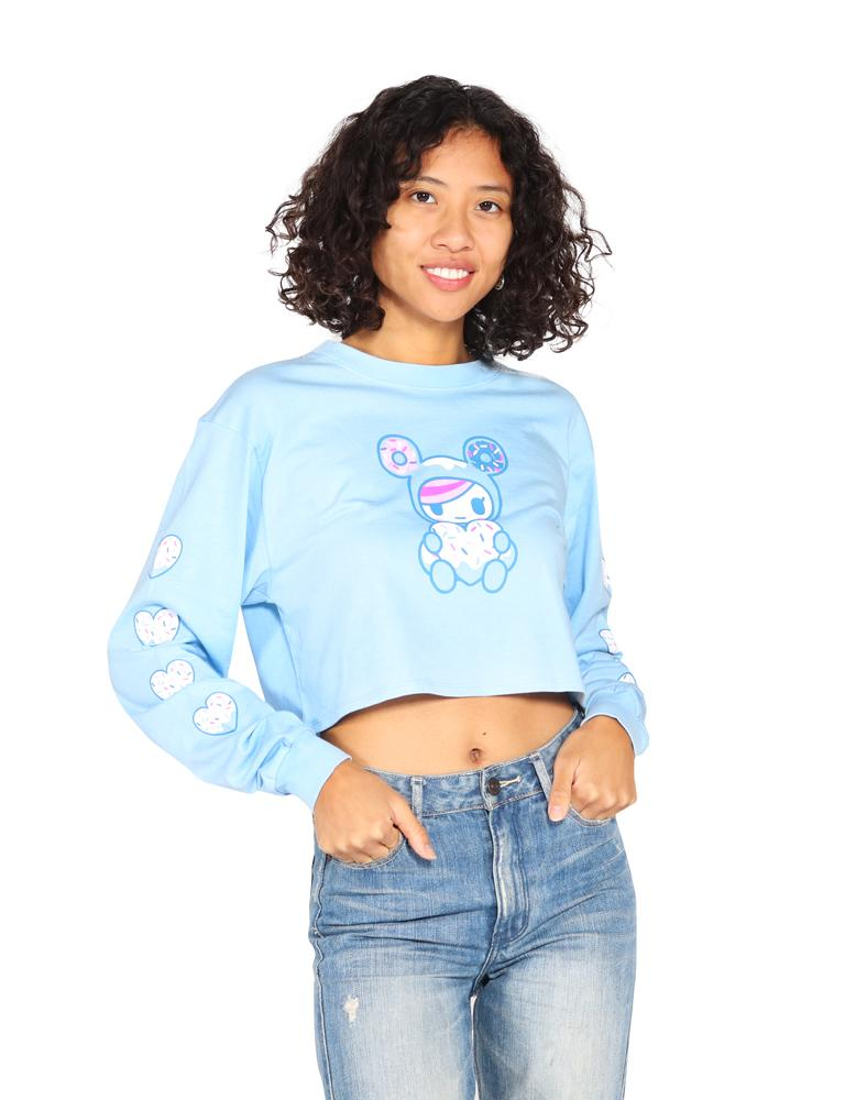 tokidoki - Sprinkled Heart Long Sleeve Women's Crop Top, Light Blue