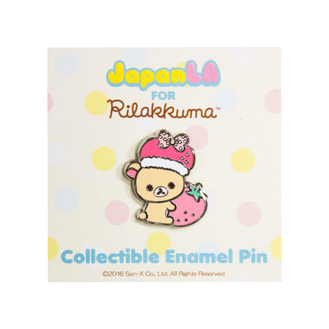 JapanLA - Korilakkuma Strawberry King Enamel Pin - The Giant Peach - 1
