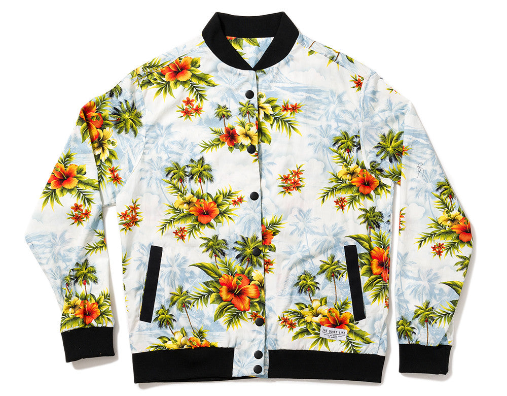 The Quiet Life - Hawaiian Coach Jacket, White/Light Blue - The Giant Peach