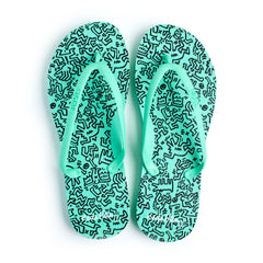 Tidal - Keith Haring Wiggle Women's Flip Flops, Green - The Giant Peach