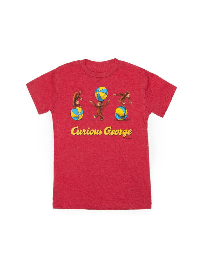 Out Of Print - Curious George Kid's Tee, Red - The Giant Peach