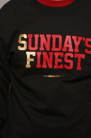 Adapt - Sunday's Finest Crewneck Men's Sweatshirt, Black/Gold - The Giant Peach
