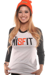 Adapt - MISFIT Women's Raglan, White/Black - The Giant Peach