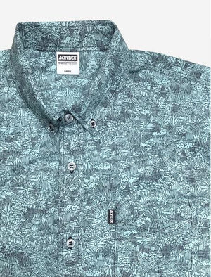 Acrylick - Kendrick S/S Button Down Men's Shirt, Aqua - The Giant Peach