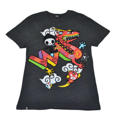 tokidoki TKDK - Adios Drago Men's Shirt, Dark Heather Grey