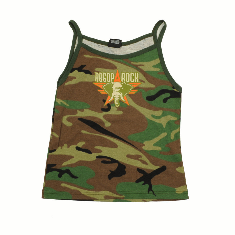 Aesop Rock - Elephant Girls Tank, Camo - The Giant Peach