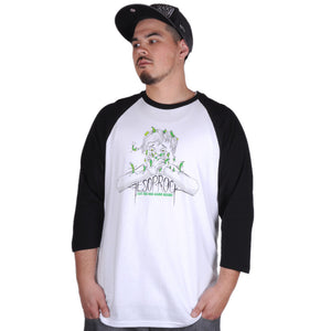 Aesop Rock - Beans Men's Baseball Shirt, White/Black - The Giant Peach