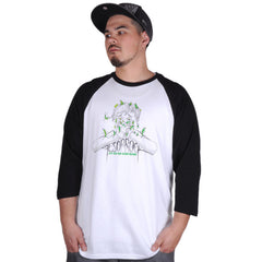 Aesop Rock - Beans Men's Baseball Shirt, White/Black - The Giant Peach - 1