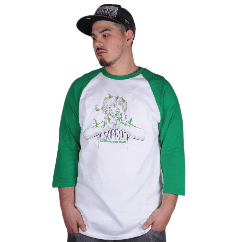 Aesop Rock - Beans Men's Baseball Shirt, White/Green - The Giant Peach - 1