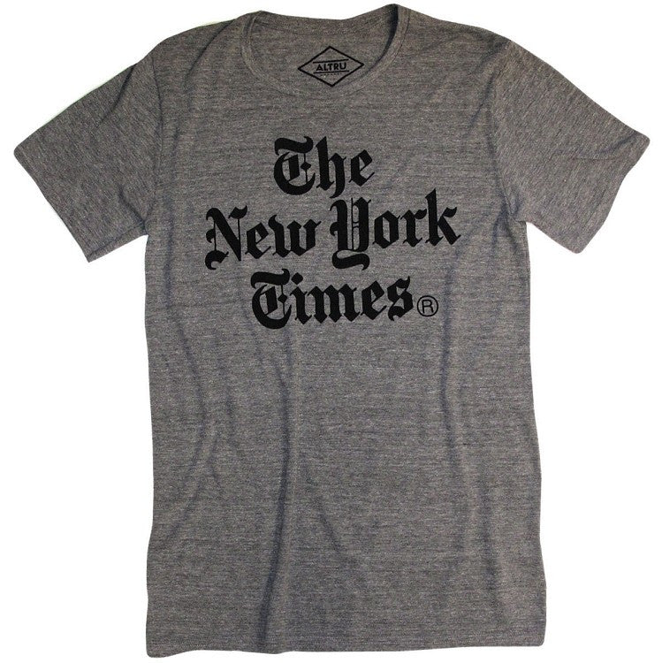 Altru Apparel - New York Times Stacked Men's Tee, Grey Triblend - The Giant Peach