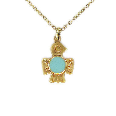 Ornamental Things - Aqua Belly T-Bird Necklace - The Giant Peach