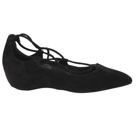 Jeffrey Campbell - Atsuko Suede Flats, Black - The Giant Peach - 1