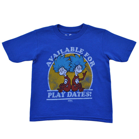 Dr. Seuss - Thing 1 and Thing 2 Play Dates Toddler Tee, Blue - The Giant Peach