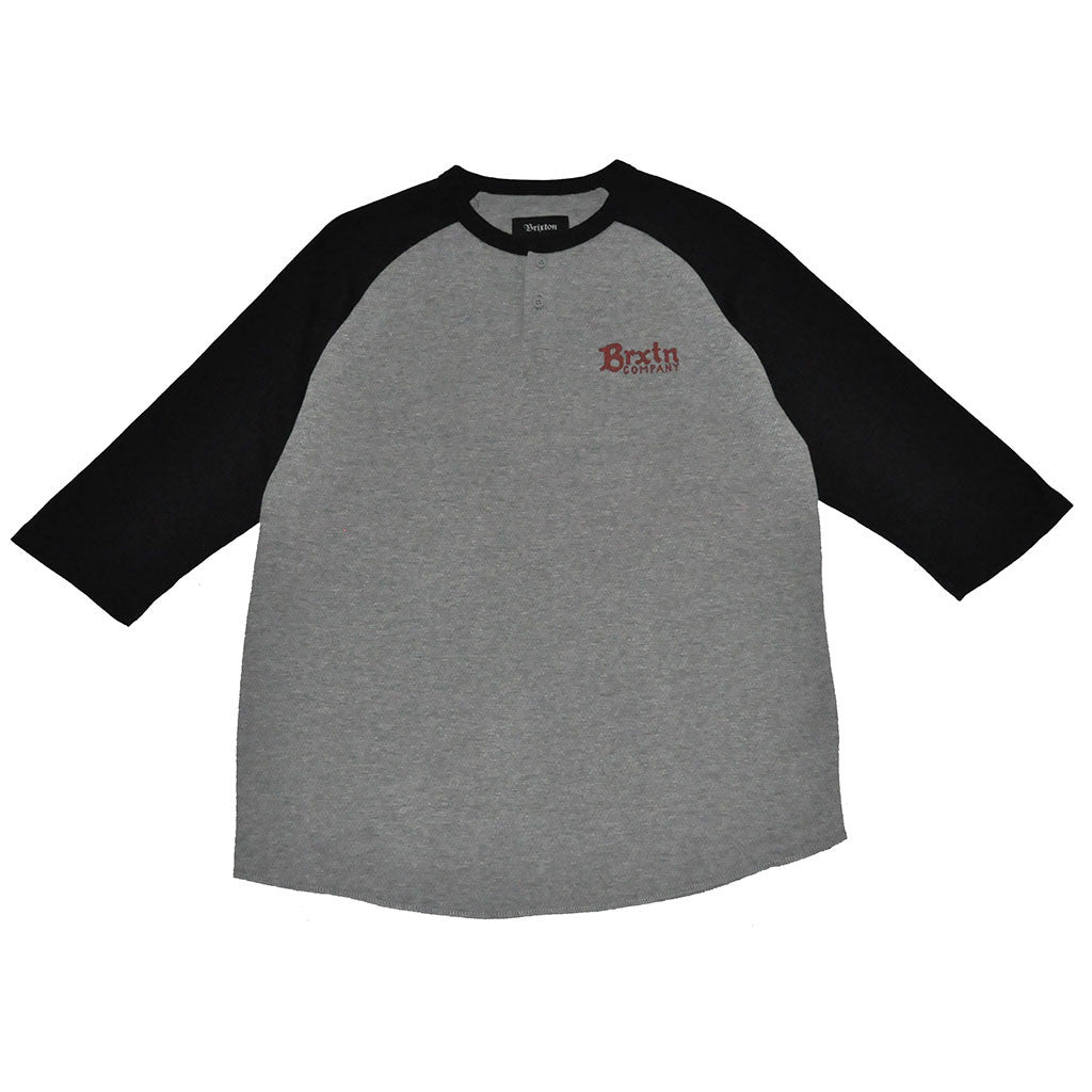 Brixton - Barley Men's 3/4 Sleeve Tee, Heather Grey/Black - The Giant Peach