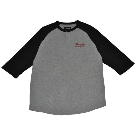 Brixton - Barley Men's 3/4 Sleeve Tee, Heather Grey/Black
