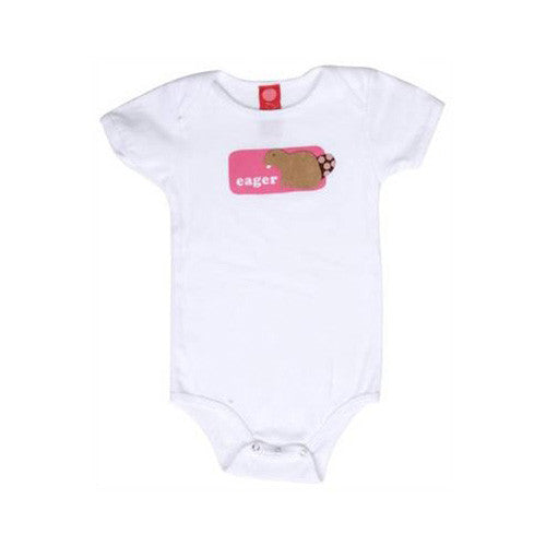 b.delicious - Eager Beaver Infant One Piece, White - The Giant Peach