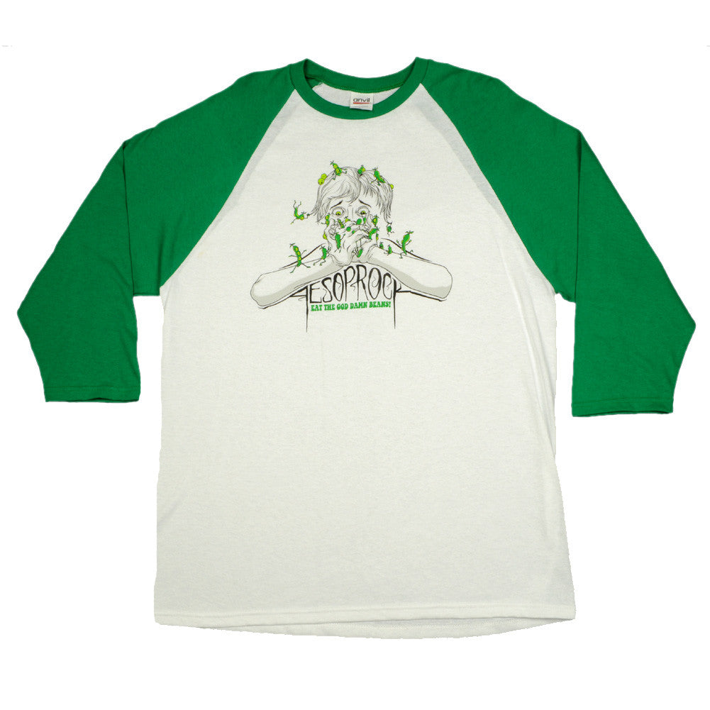Aesop Rock - Beans Men's Baseball Shirt, White/Green - The Giant Peach - 2