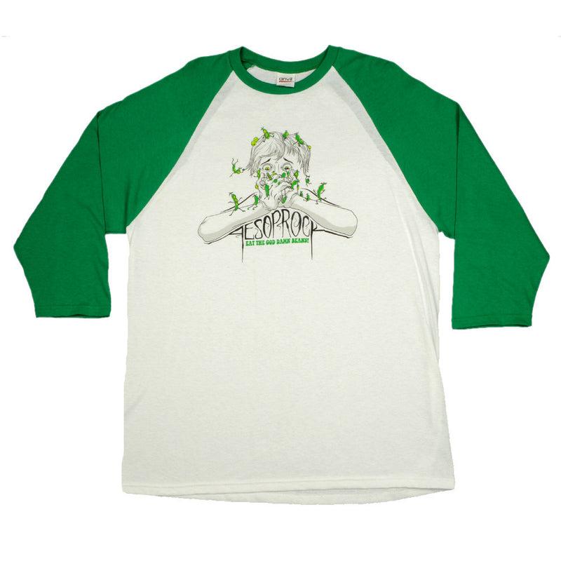 Aesop Rock - Beans Men's Baseball Shirt, White/Green - The Giant Peach