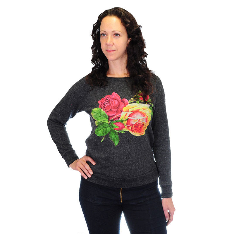 OBEY - Bed of Roses Women's Graphic Fleece, Heather Onyx - The Giant Peach - 1