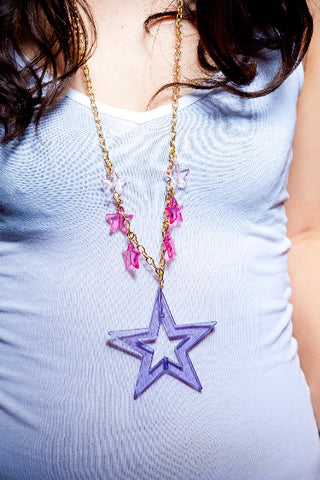 TRiXY STARR - Bella Necklace, Gold/Purple/Pink