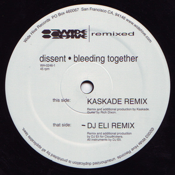 "DISSENT - Bleeding Together (Remix), 12"" Vinyl - The Giant Peach"