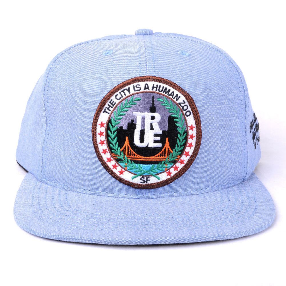 TRUE -Human Zoo 6 Panel Snapback Hat, Indigo Denim - The Giant Peach - 3