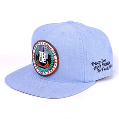 TRUE -Human Zoo 6 Panel Snapback Hat, Indigo Denim - The Giant Peach - 1