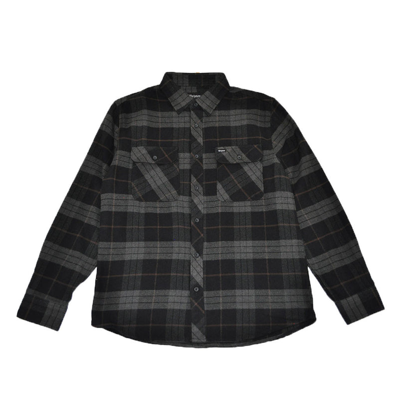 Brixton - Bowery Men's L/S Flannel Shirt, Black/Charcoal - The Giant Peach