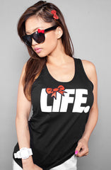 Adapt - Ashley Vee Bow Life Women's Tank Top, Black - The Giant Peach - 1
