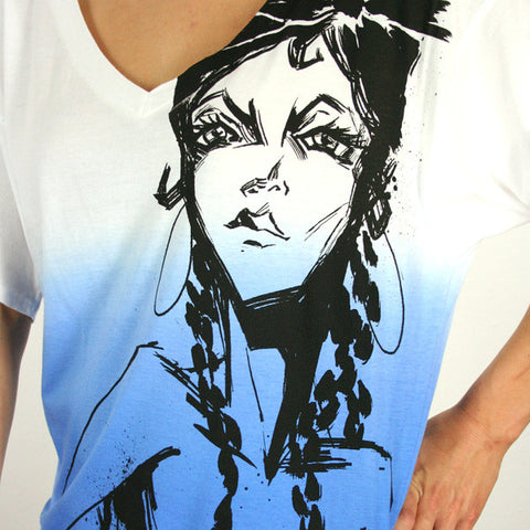 Harajuku Lovers - Pen & Ink Angel Wide V-Neck Top, Don't Be Blue