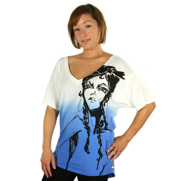 Harajuku Lovers - Pen & Ink Angel Wide V-Neck Top, Don't Be Blue - The Giant Peach - 1