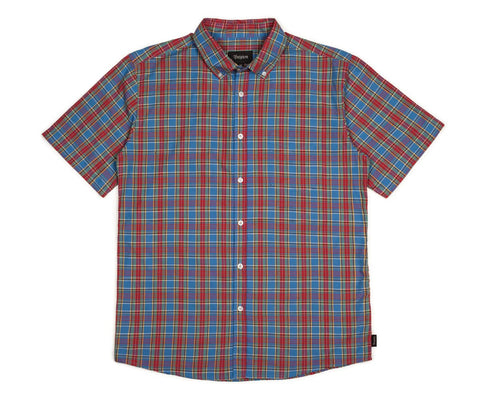 Brixton - Arthur Men's S/S Woven Shirt, Red/Blue