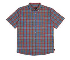 Brixton - Arthur Men's S/S Woven Shirt, Red/Blue - The Giant Peach