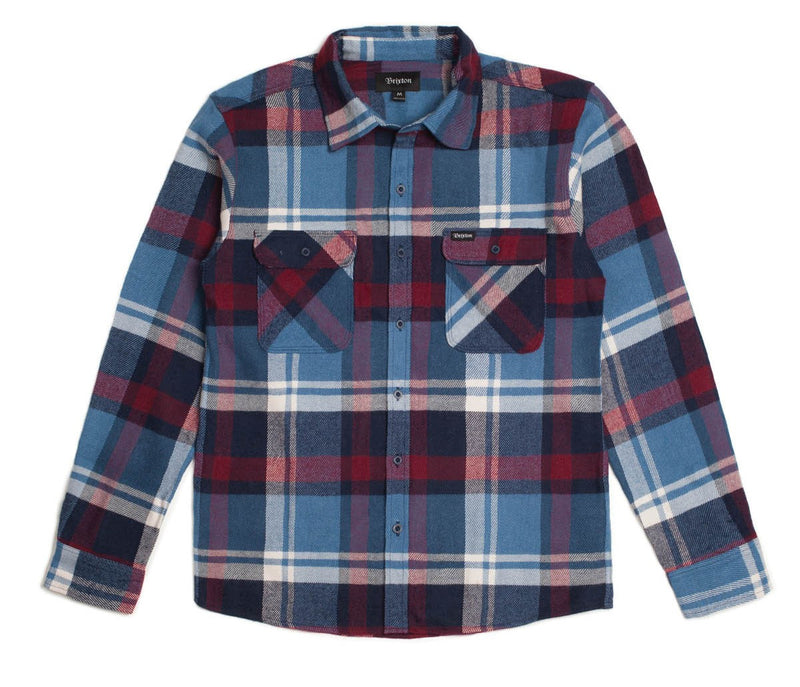 Brixton - Bowery Men's Flannel L/S Shirt, Blue/Burgundy - The Giant Peach