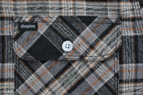 Brixton - Bowery Men's Flannel L/S Shirt, Black/Grey
