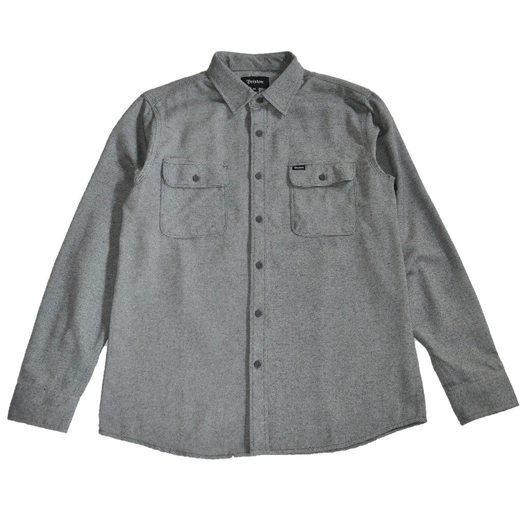 Brixton - Bowery Men's Flannel L/S Shirt, Grey - The Giant Peach