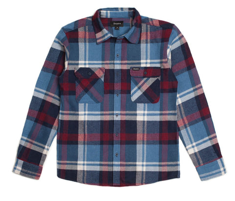 Brixton - Bowery Men's Flannel L/S Shirt, Blue/Burgundy