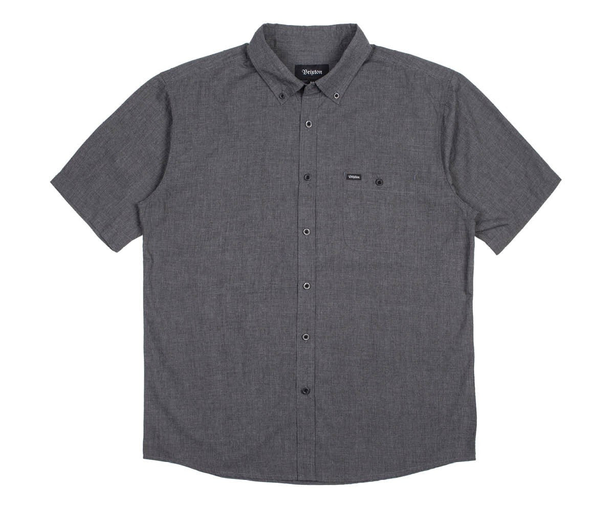 Brixton - Central Men's S/S Woven Shirt, Heather Black - The Giant Peach