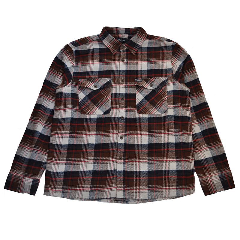 Brixton - Hayes Men's Flannel L/S Shirt, Brown/Navy - The Giant Peach