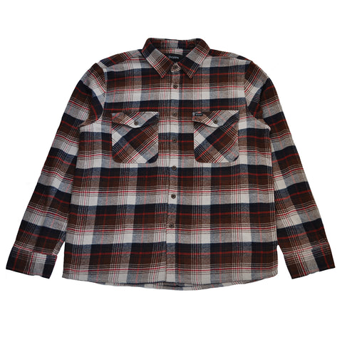 Brixton - Hayes Men's Flannel L/S Shirt, Brown/Navy