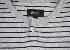 Brixton - Milwaukee Men's S/S Sleeve Henley, Heather Grey - The Giant Peach